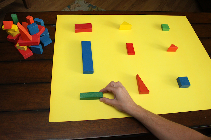 prek math skills activity: step 3 place more blocks
